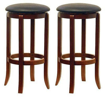 Winsome Wood 30-Inch Black PVC Seat Walnut Bar Stools Set of 2