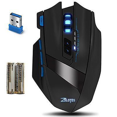 Wireless Gaming Mouse, AFUNTA ZELOTES F15 Professional 2500 DPI Adjustable 9