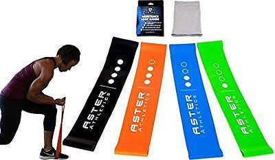 Heavy Duty 4 Piece Exercise Resistance Band Loop Workout Set, Perfect Strength