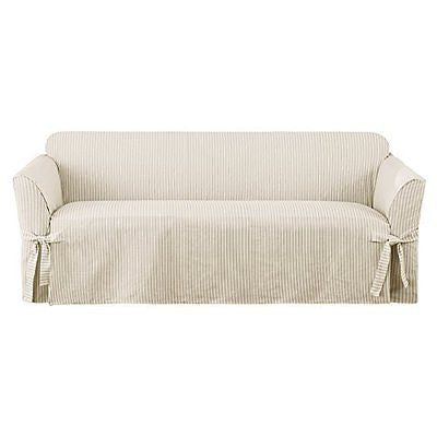 Sure Fit 1 Piece Ticking Stripe Sofa, Dove Gray
