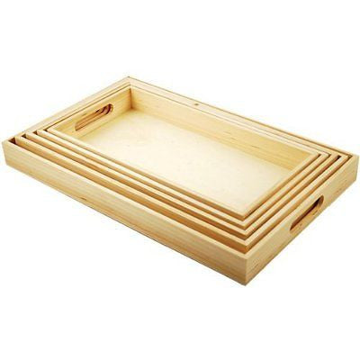 5-Piece Paintable Wooden Trays with Handles 6-5/8 by 13