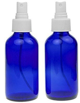 2 Empty Blue Glass Spray Misters - 4oz Refillable Bottle is Great for Essential