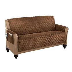 Collections Etc Micro Fleece Quilted Furniture Protector, Loveseat, Chocolate
