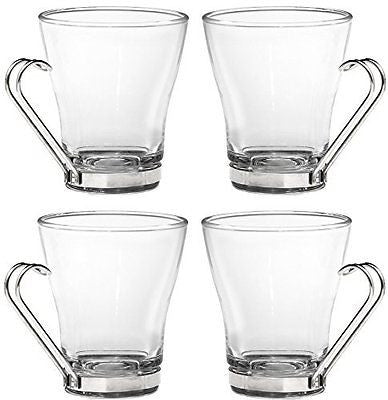 Cappuccino Cup with Stainless Steel Handle ? Use Mug ForSet of 4 Glasses