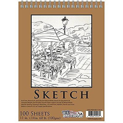 US Art Supply Premium Spiral Bound Sketch Pad of 100 Sheets