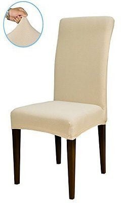 Subrtex Knit Spandex Fabric Dining Room Chair Slipcovers (4 Milky Knit)
