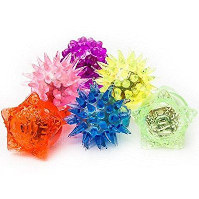 Fun Central AC809 LED Flashing Jelly Rings - Assorted Styles and Colors 24ct