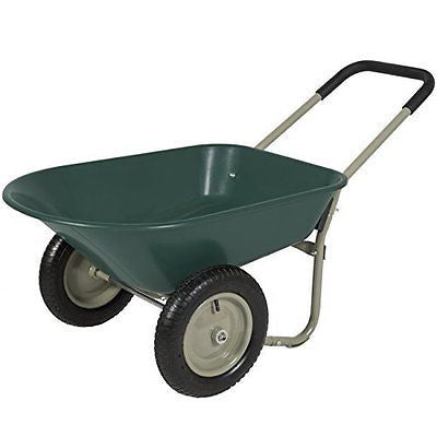 Best Choice Products Dual Wheel Home Yard Rover Wheelbarrow Garden Cart