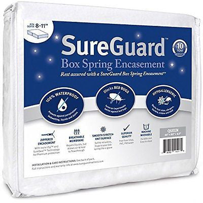 Queen Size Box Spring Encasement -Waterproof Bed Bug Proof Hypoallergenic