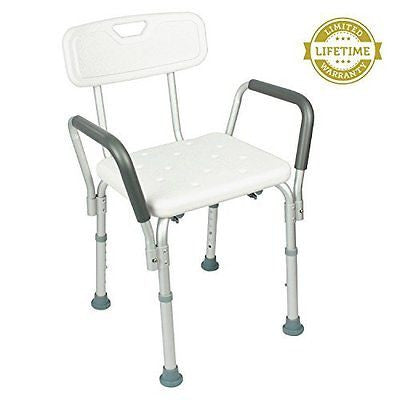 Shower Chair with Back By Vive - Height Adjustable Seat Perfect for Tub