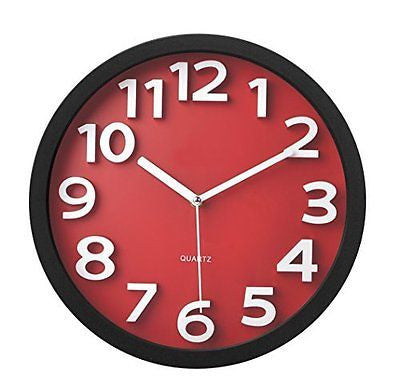 Tempus TC62127R Contemporary Wall Clock with Raised Contrasting Numerals