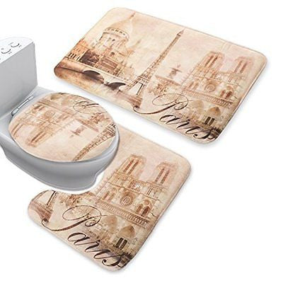 Jillban Eiffel Tower Flannel Mat Set Toilet Cover Set Non Slip Bathroom Carpet