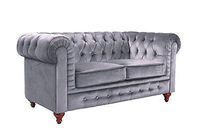 Classic Scroll Arm Chesterfield Style Loveseat with Tufted (Grey)