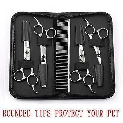Augymer Pet Grooming Scissors Kit, Rounded Tips Curved Grooming Shears For Cats