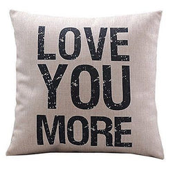 Cotton Linen Decorative Pillowcase Throw Pillow  Cover Love You More Square 18