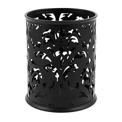 Hollow Flower Design Cylinder Pen Pencil Holder Organizer Black