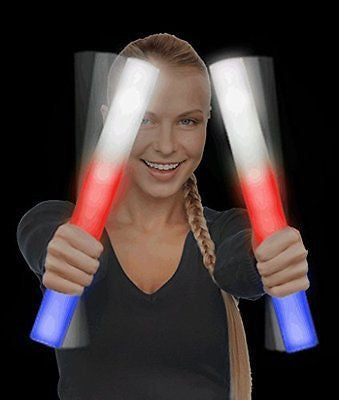 6 Pack - LED Foam Stick Baton Supreme - Patriotic - Red White & Blue