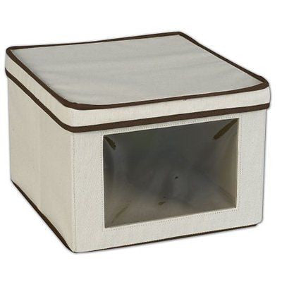 Household Essentials Medium Storage Box with See-Through Window, Natural Canvas