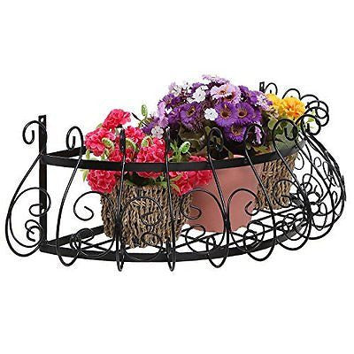 Black Metal Scrollwork Design Wall Mounted Flower Plant Shelf Display