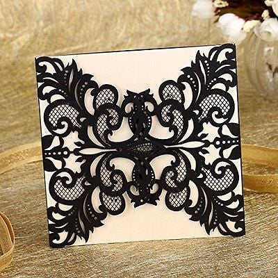 H&D 60pcs Black Hollow Out Flora Laser Cut Greeting Wedding Invitations Cards