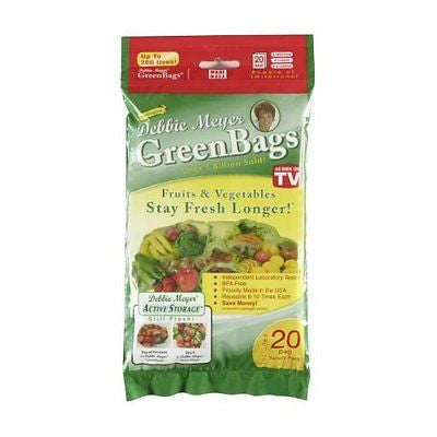 GreenBags Freshness-Preserving Food/Flower Storage Bags (Various Sizes 20-Pack)