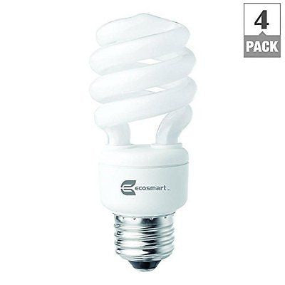 EcoSmart 14W 5000K Spiral CFL Light Bulb, Daylight (4-Pack)