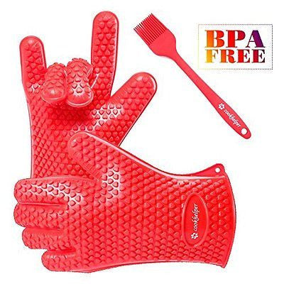 BBQ Grilling Gloves, COOKHELPER 1 Pair Silicone Heat Resistant Gloves