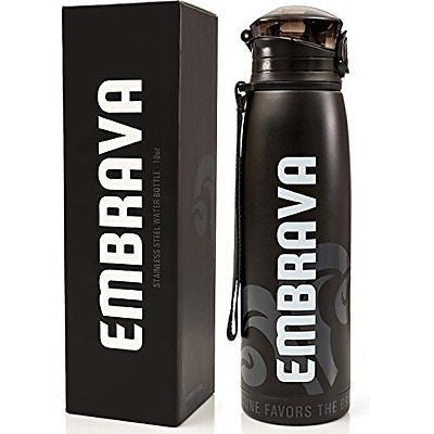 Stainless Steel Water Bottle by Embrava - 18 Ounce - BPA Free - Sweat