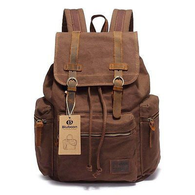 BLUBOON(TM) Vintage Men Casual Canvas Leather Backpack Rucksack Bookbag Satchel