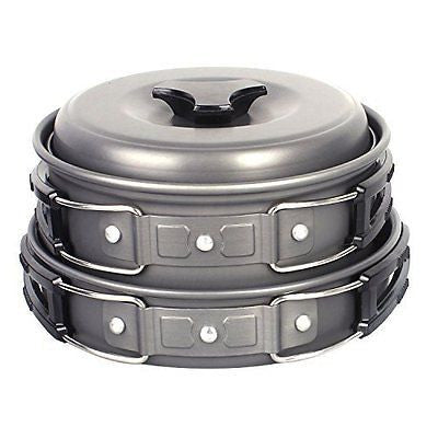 Camping Pots, Portable Hard Anodized Aluminum Cooking Ware Cookware Picnic Bowl