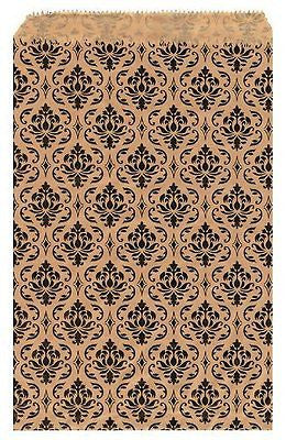 "200 pcs Damask Paper Gift Bags Shopping Sales Tote Bags 6"" x 9"" Brown"