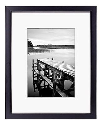 8x10 Black Picture Frame - Made to Display Pictures 5x7 with Mat or 8x10