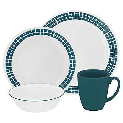 Livingware 16-Piece Dinnerware Set Aqua Tiles Service for 4