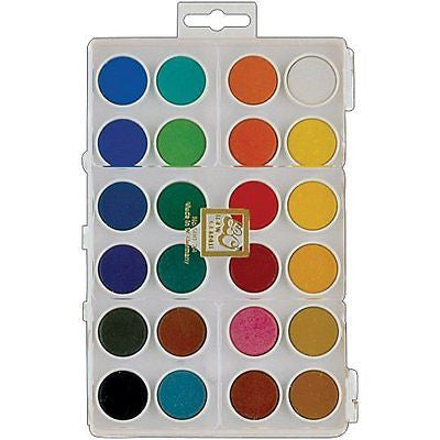 Loew-Cornell Assorted Dry Pan Watercolor Paint Cakes, 24-Pack