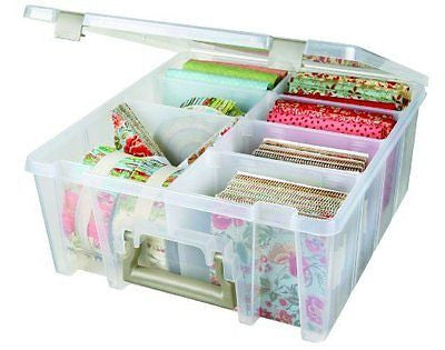 Super Satchel Double Deep with Removable Dividers:  Clear Art Craft Storage Box
