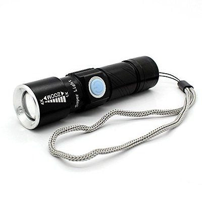 Jasonwell Mini USB Rechargeable LED Flashlight Torch Adjustable Focus Zoomable