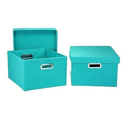 Household Essentials Nested Boxes with Lids, Aqua, Set of 2
