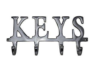 "Key Holder ""Keys"" - Wall Mounted Key Holder Decorative Cast Aluminum Key Rack"