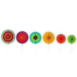 Fiesta Colorful Paper Fans Round Wheel Disc Southwestern Pattern Design