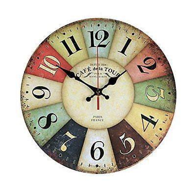 Wood Wall Clock, NALAKUVARA Vintage Colorful France Paris French Country Tuscan