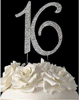 16 Silver Rhinestone Crystal Cake Topper Silver, Gold Numbers, Letters