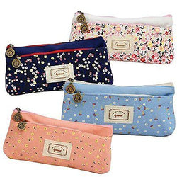 Set of 4, Ipow Flower Floral Canvas Cosmetic Pen Pencil Stationery Pouch Bag