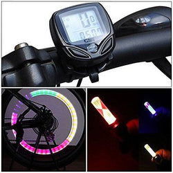 Bike Computer Wireless Bike Speedometer Odometer Cycling With 2 Wheels Lights
