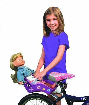 "Doll Bicycle Seat - ""Ride Along Dolly"" Bike Seat (Purple) with Decorate"