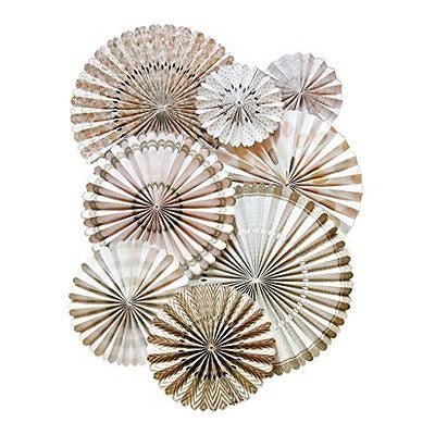 My Mind's Eye Vintage Style Party Fans, 8 Count, Gold
