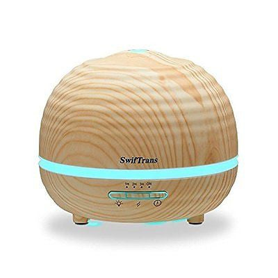 Essential Oil Diffuser, Swiftrans 300ml Aroma Wood Grain Ultrasonic Cool Mist