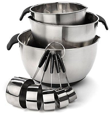 Elite Kitchenware Stainless Steel Mixing Bowls and Measuring Cups Set