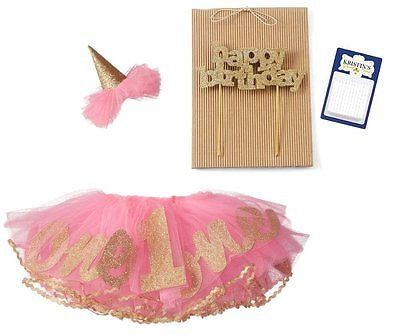 Baby Girls Birthday Tutu, Hat, Cake Topper and Candles Party Set, 12M