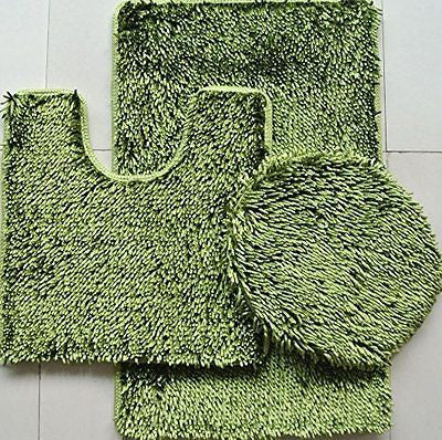 "3 Piece Shiny Chenille Bath Rugs Set Large 18""x""30 Contour Mat 18""x18"" and Lid."