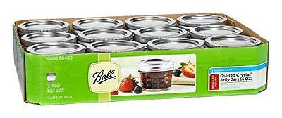 Ball Jar Crystal Jelly Jars with Lids and Bands, Quilted 4-Ounce Set of 12